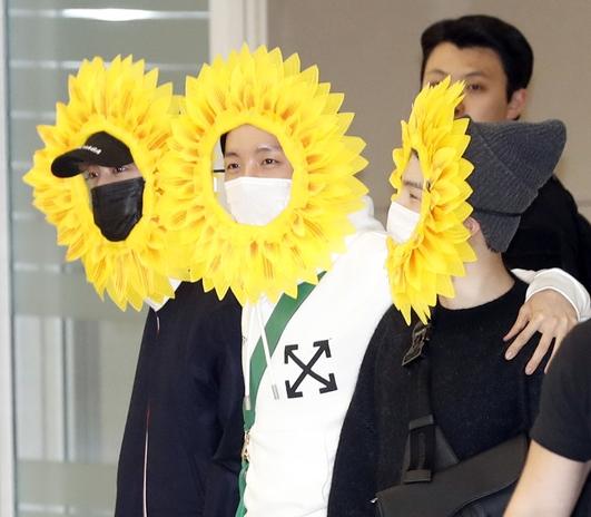 진-제이홉-슈가, 해바라기 변신한 BTS