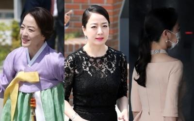 노현정, 옥색 한복→진주목걸이…'현대家 결혼식 하객 패션 변천사'(종합)