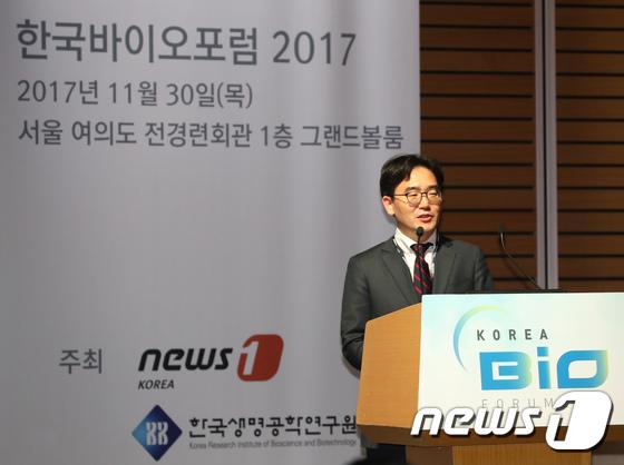 기업설명하는 고석범 지노바이오 대표