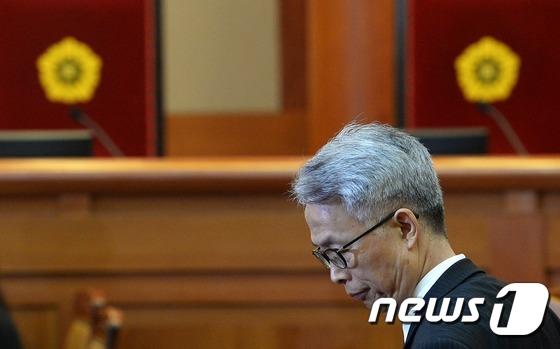증인 출석하는 정현식 K스포츠재단 사무총장