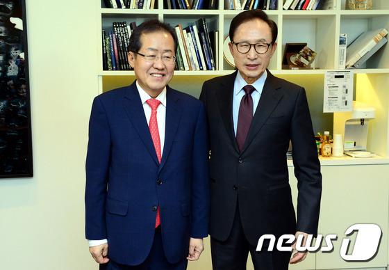 홍준표 후보 '이명박 전 대통령 예방'