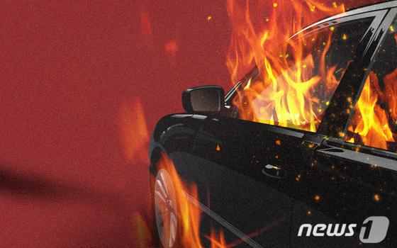 오피스텔 지하 주차장 차량 불타 … 뒷좌석에서 죽은 여자 발견