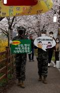순천 벚꽃길에서 코로나19 사회적 거리두기 권고