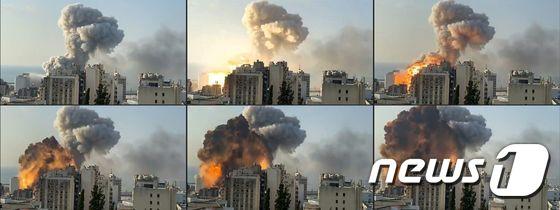 [사진] 베이루트항 선착장의 대규모 폭발사고 장면