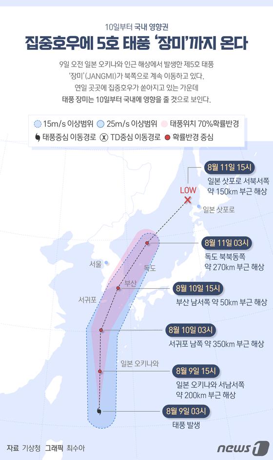 [그래픽뉴스] 집중호우에 5호 태풍 '장미'까지 온다