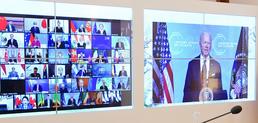 조 바이든 미국 대통령 발언 듣는 각국 정상들