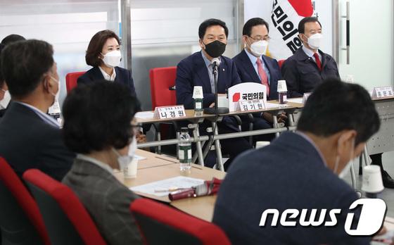 당대표 후보자 초청 간담회 참석한 김기현 대표 권한대행