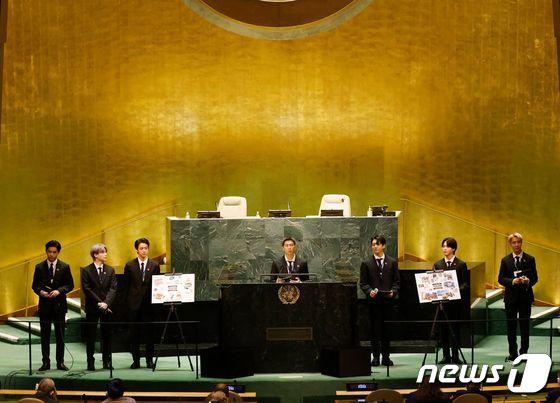 SDG Moment 개회식 발언하는 BTS